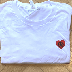 Heart Football Embroidered White T-Shirt  Extra Large