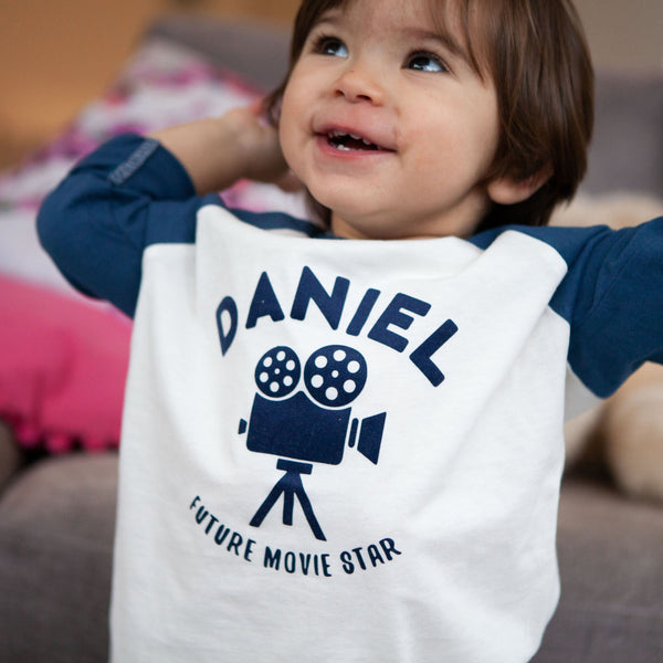Personalised Future Movie Star Baby Baseball Top