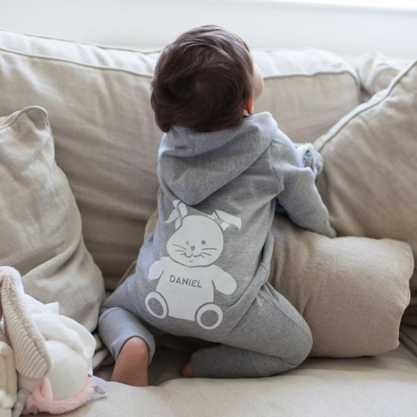 Our Personalised Hooded Onesie is a grey romper suit a gorgeous design on the reverse, personalised with your baby's name.