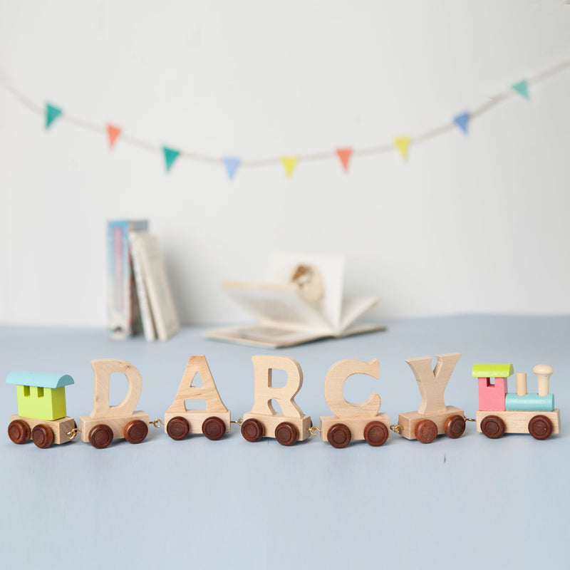 Wooden Name Train with Pastel Engine and Carriage and Gift Bag
