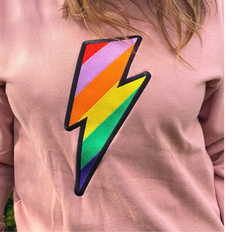 Dusty Pink Embroidered Rainbow Lightning Bolt Sweatshirt