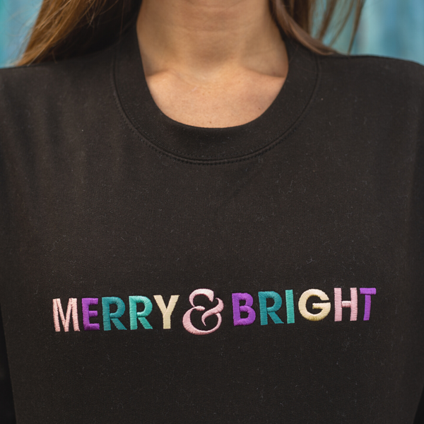 Embroidered Merry and Bright Christmas Black Sweatshirt