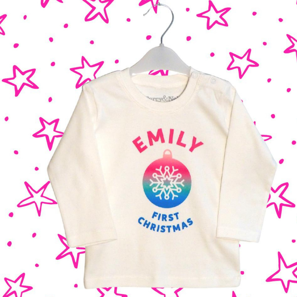 Personalised First Christmas Bauble Organic Top in Pinks!