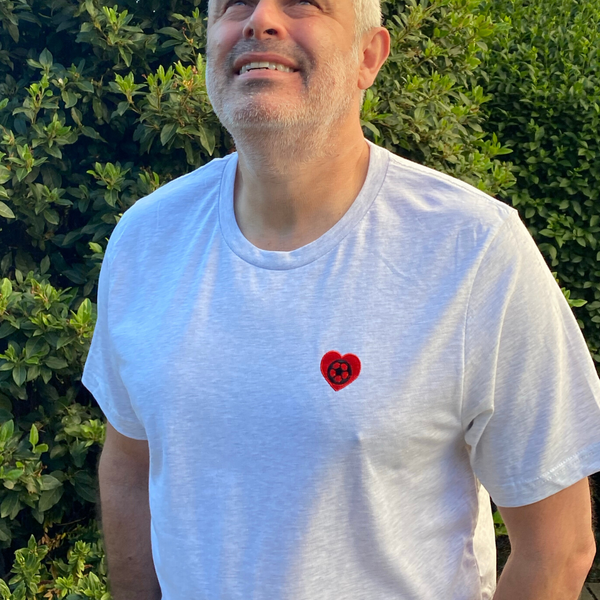 Dad Embroidered Football Heart T-Shirt  - Perfect for Father's Day