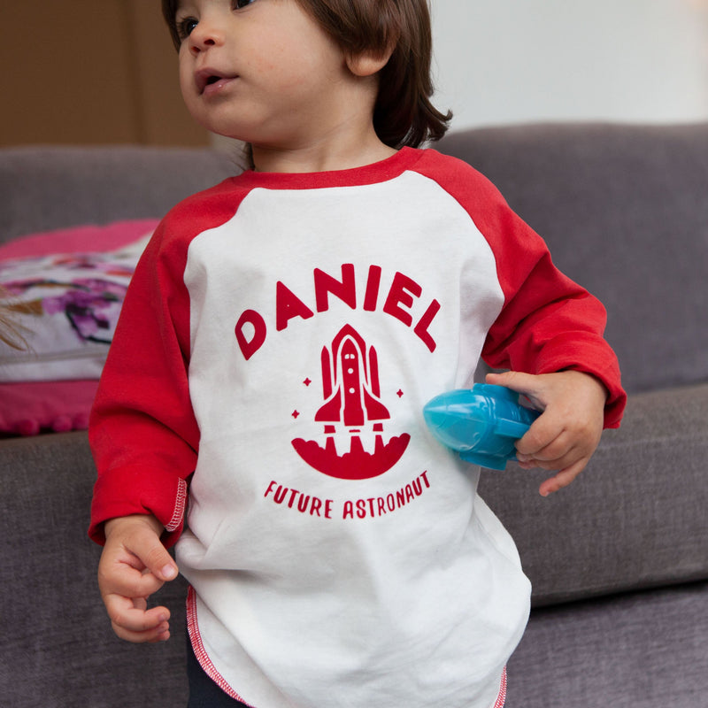 Personalised Future Astronaut Baby Baseball Top