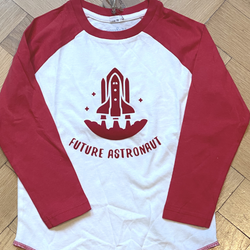 Future Astronaut Baseball Top printed in red velvet flock age 2-3 years