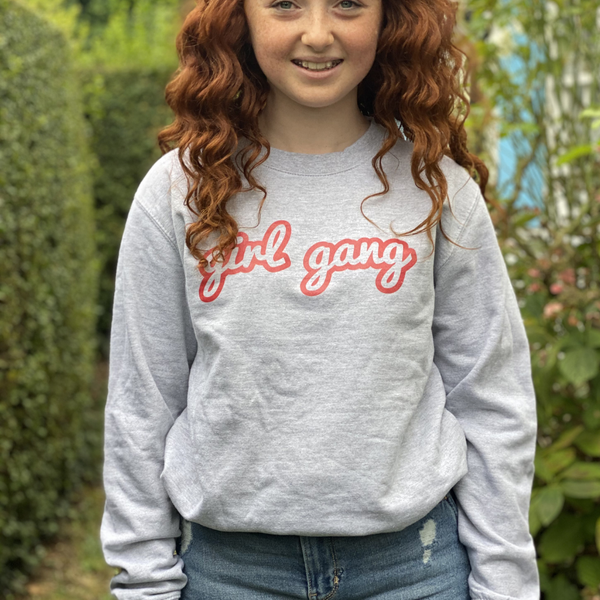 Girl Gang Printed Grey Sweatshirt