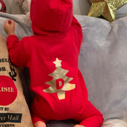 Personalised Festive Onesie with Gold Tree!