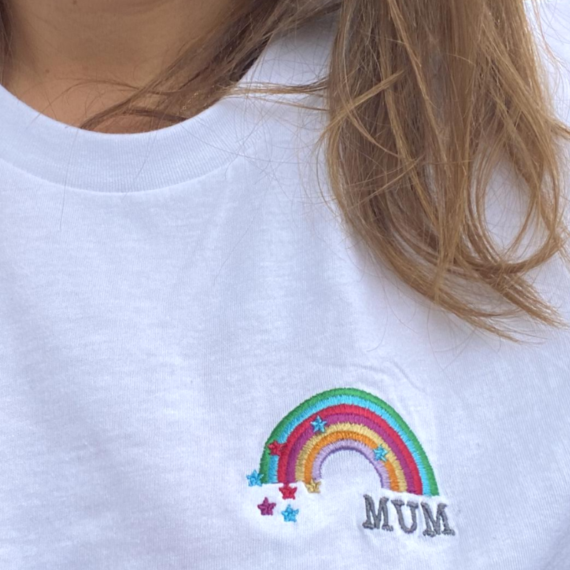 Green Rainbow and Stars 'Mum' T-Shirt for Mummies