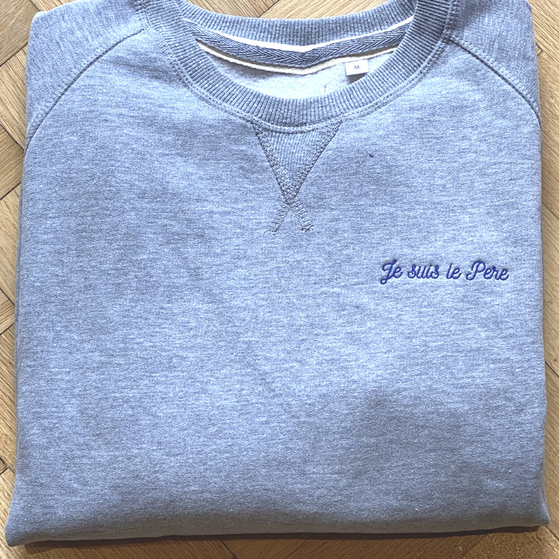 Men's Pale Grey Sweatshirt Je suis le Papa Medium
