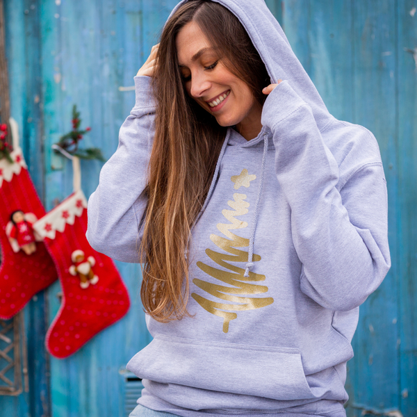 Grey Hoodie with Gold Christmas Tree