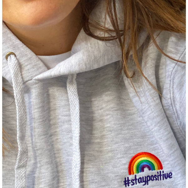 #staypositive grey hoodie with NHS donation