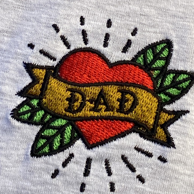 Dad Embroidered Grey T-Shirt  Large