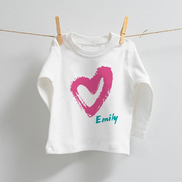 Personalised Heart Design on Long Sleeve T-Shirt