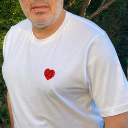 Dad Embroidered Television Heart T-Shirt  - Perfect for Father's Day