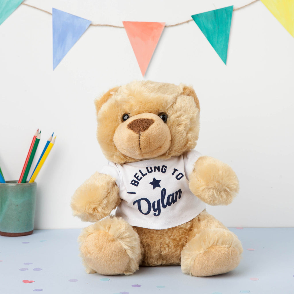 personalised teddy in a t-shirt