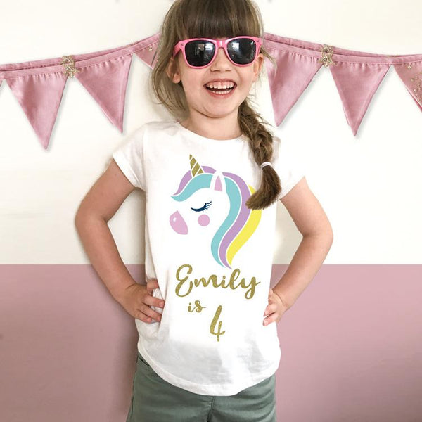 personalised unicorn birthday t-shirt