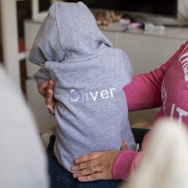 Personalised Baby Hooded Top in Grey
