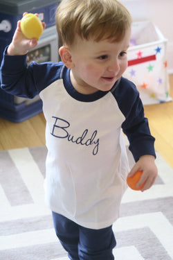 Personalised Baby and Toddler's Navy and White Pyjamas