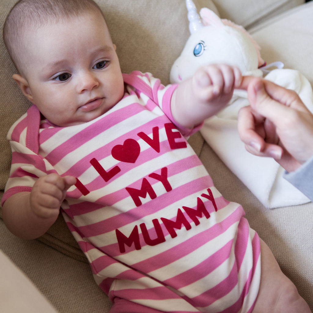 I Love Mummy or Daddy Vest, in Pink and White