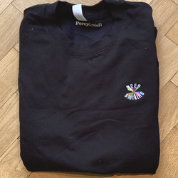 Keep Smiling Small Embroidery Black Sweatshirt - Size Small