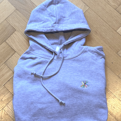 Keep Smiling Small Embroidery Grey Hoodie - Size Medium