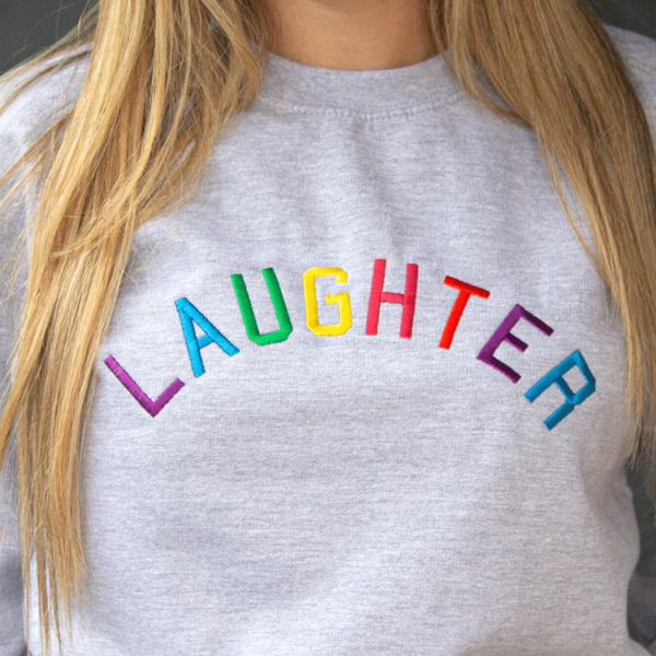 Laughter Embroidered Grey sweatshirt