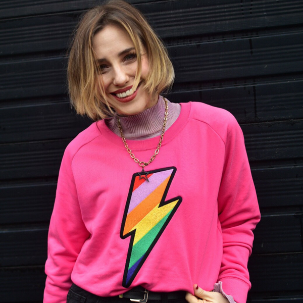Embroidered Rainbow Lightning Bolt Organic Sweatshirt