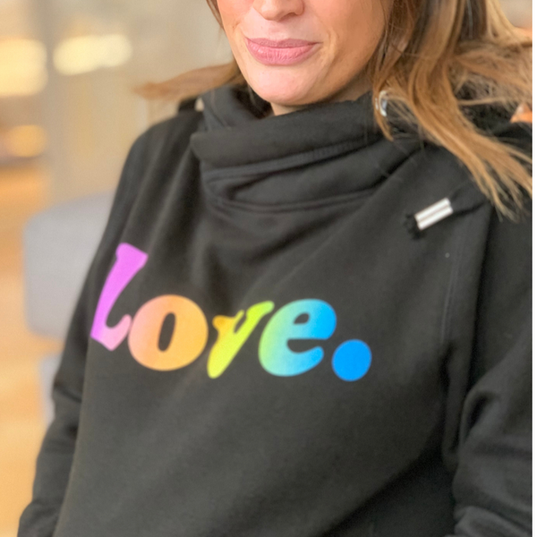 Rainbow Love Cross Neck Hoodie