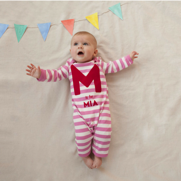 Personalised Baby Romper in Pink & White Stripes