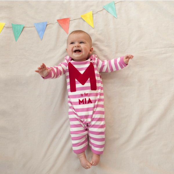 """A is For...."" Personalised Stripy Baby Romper in Pink & White Stripes"