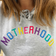 'Motherhood' Embroidered Grey Hoodie with Pockets