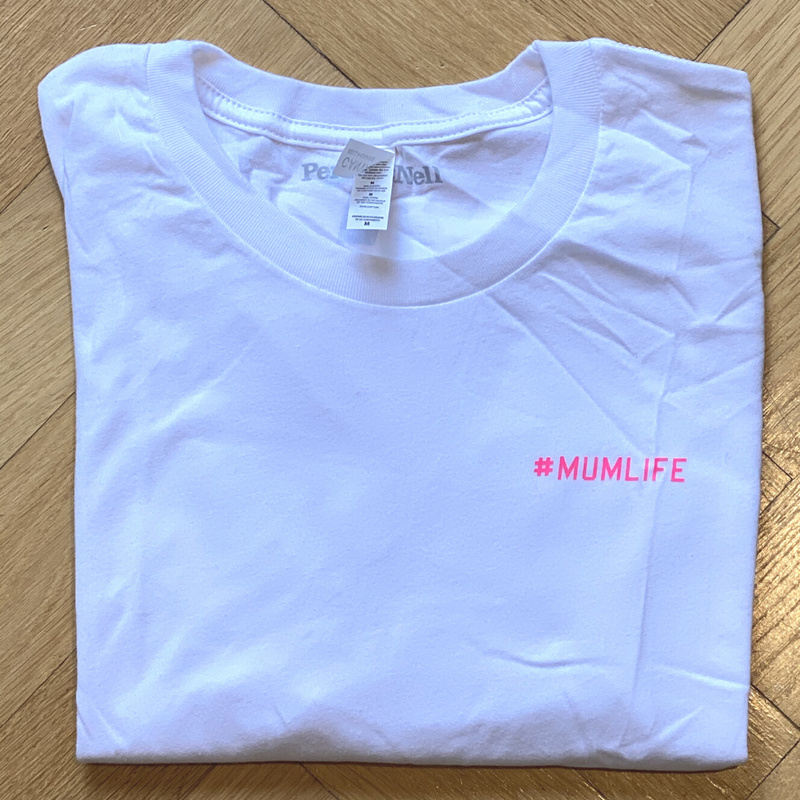 #Mumlife Pink Neon (small print) White T- Shirt Medium