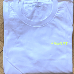 #Mumlife Yellow Neon (small print) White T- Shirt Medium