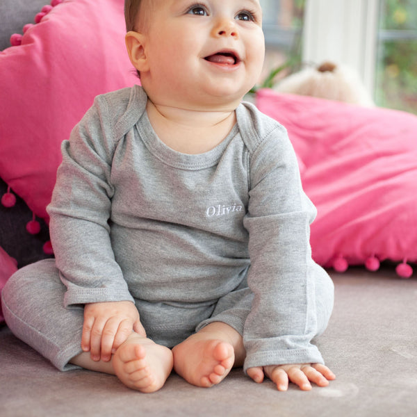Personalised Embroidered Romper in Pale Grey or White