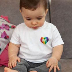 Rainbow Striped 'Mini' Embroidered  Heart T-Shirt for Baby