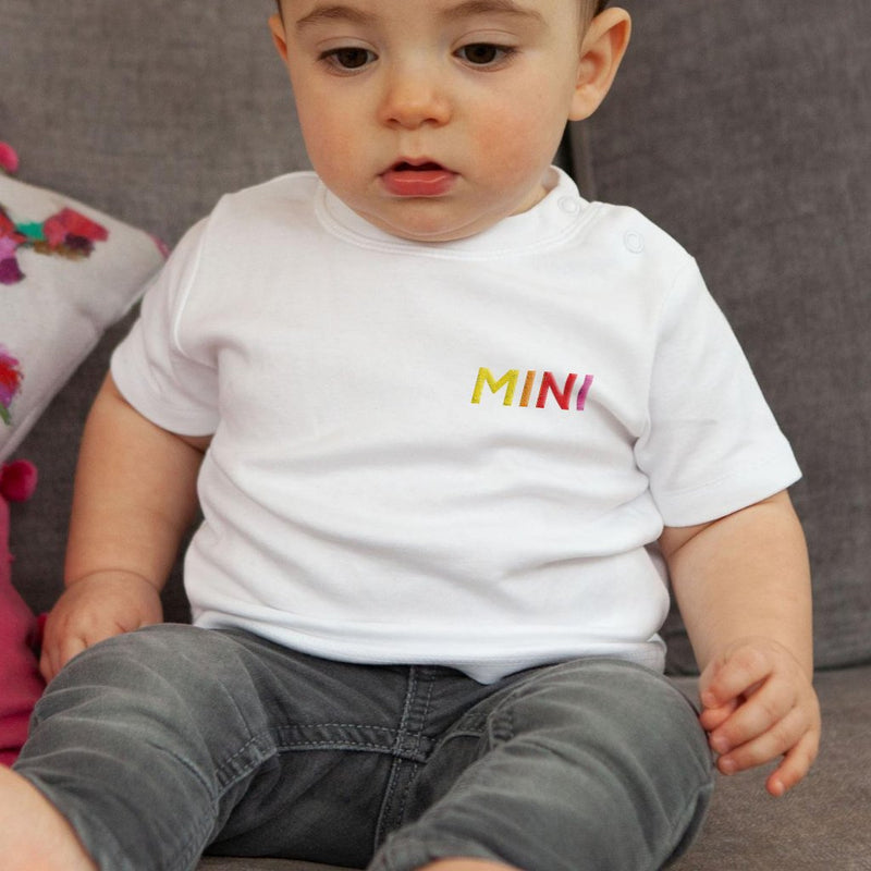 Rainbow Text 'Mini' Embroidered T-Shirt for Baby