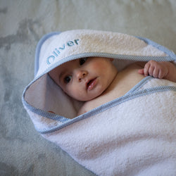 Personalised Baby Hooded Towel Edged in Blue Gingham