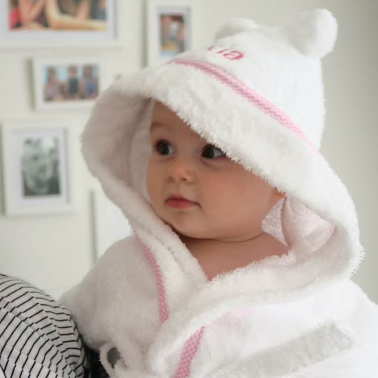 Personalised Hooded Baby Robe Edged in Pink Gingham