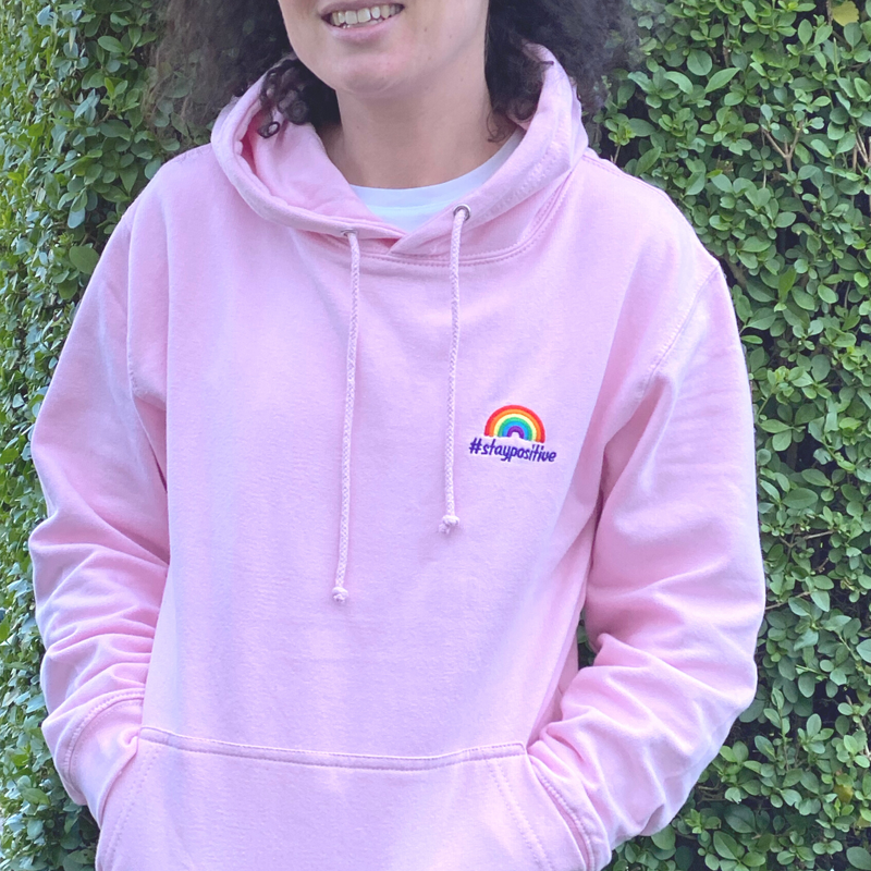#staypositive pink hoodie - pale pink or bright pink!