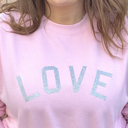 Love Glitter Pale Pink sweatshirt