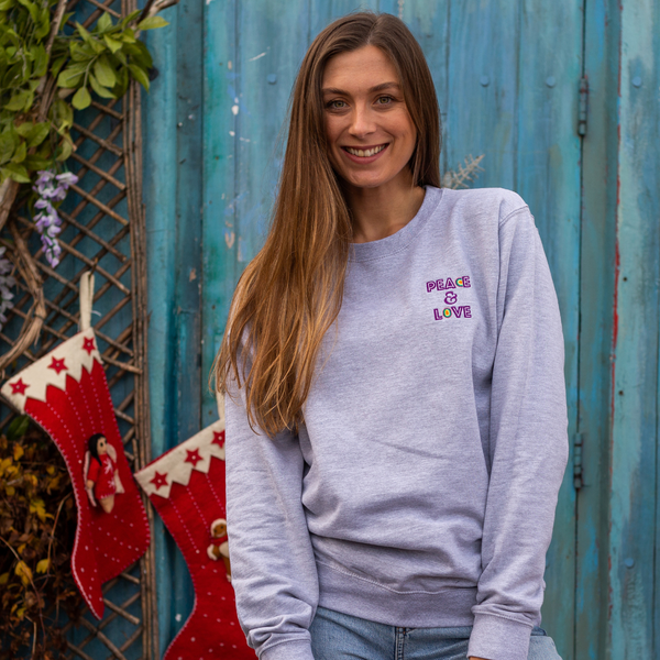 Embroidered Peace and Love Grey Sweatshirt
