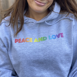 Rainbow Peace and Love Grey Hoodie
