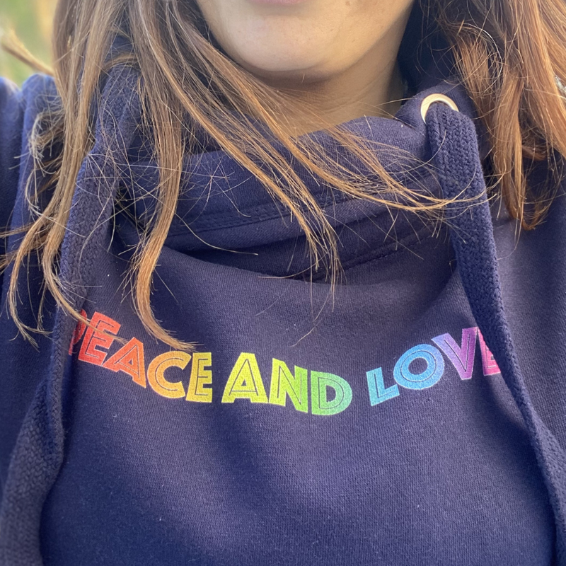 Rainbow Peace and Love Cowl Neck Hoodie in Navy