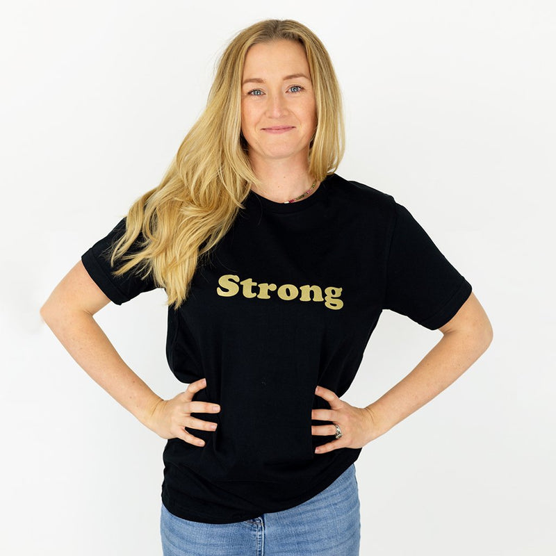 Strong Gold on Black Organic Cotton T-Shirt