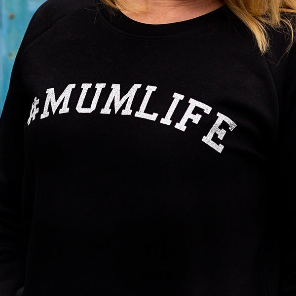 #MumLife Sweatshirt in Black and Silver Glitter