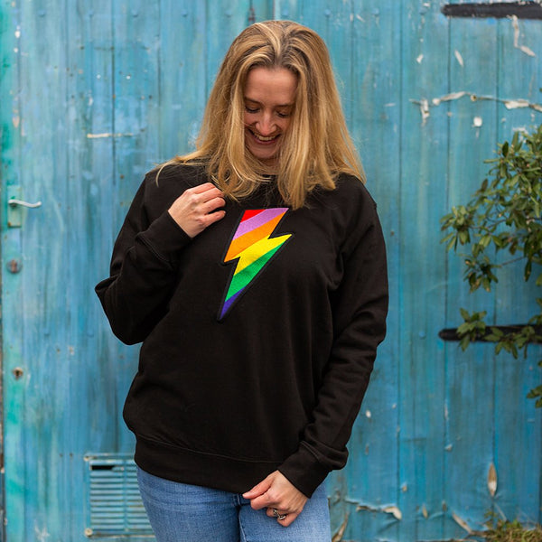 Embroidered Rainbow Lightning Bolt Organic Sweatshirt in Black