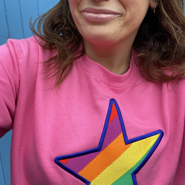 Embroidered Rainbow STAR Organic Sweatshirt in Bright Pink
