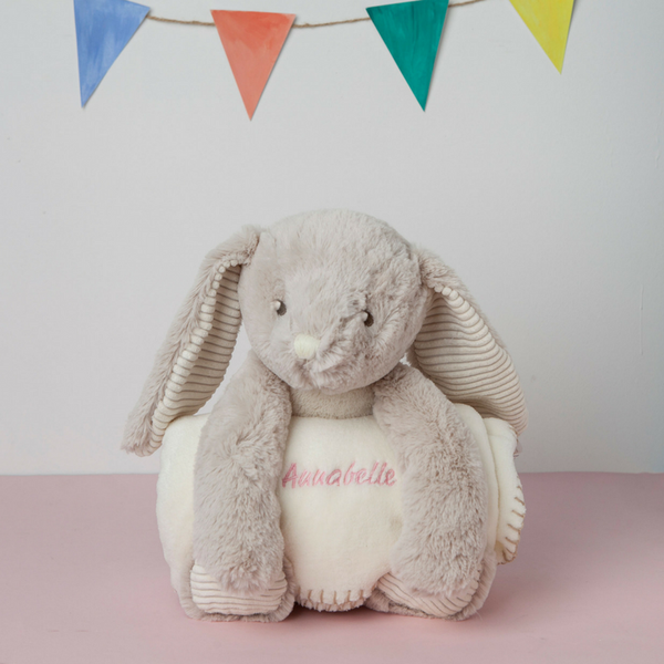 Gorgeous Snuggly Large Rabbit with Personalised Blanket