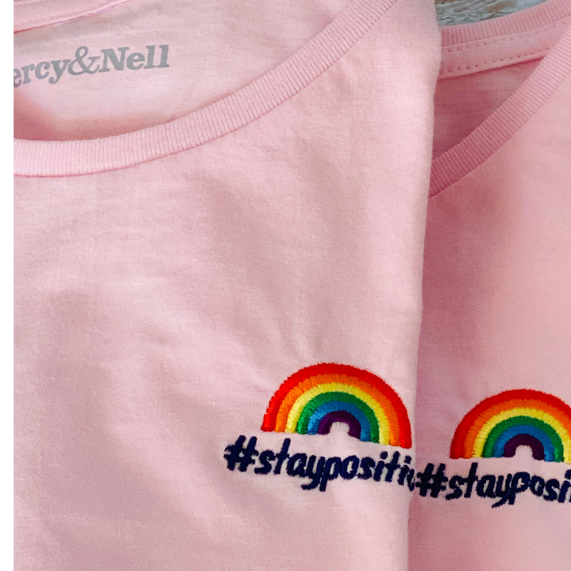 #staypositive T-Shirt with NHS donation in Pale Pink